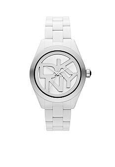 DKNY Ladies White and Black Plastic Three-Hand Logo Watch