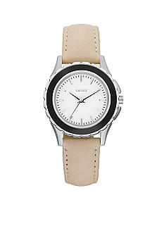 DKNY Silver-Tone and Black Stainless Steel Nude Leather Three-Hand Watch