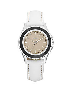 DKNY Silver-Tone and Black Stainless Steel White Leather Three-Hand Watch