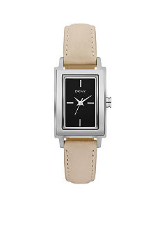 DKNY Nude Leather and Silver-Tone Stainless Steel Three-Hand Watch