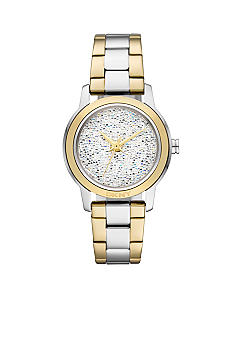 DKNY Ladies Silver-Tone and Gold-Tone Stainless Steel Three-Hand Glitz Watch