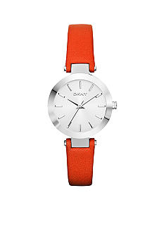 DKNY Ladies Silver Tone Stainless Steel and Coral Leather Watch