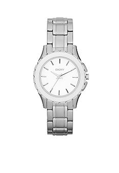 DKNY Ladies Silver-Tone Stainless Steel Three-Hand Glitz Watch