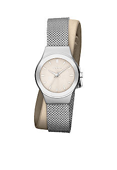 DKNY Ladies Silver Tone Stainless Steel Mesh and Nude Leather Wrap Watch