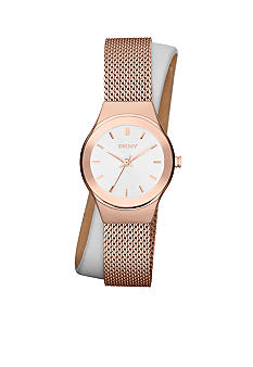 DKNY Ladies Rose Gold-Tone Stainless Steel Mesh and White Leather Wrap Watch