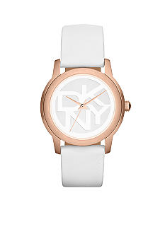 DKNY Ladies Rose Gold-Tone Stainless Steel and White Leather Logo Watch