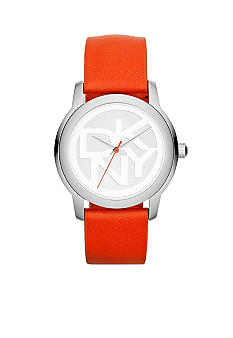 DKNY Ladies Silver-Tone Stainless Steel and Coral Leather Logo Watch