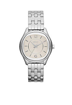 DKNY Ladies Silver-Tone Stainless Steel Three-Hand Watch