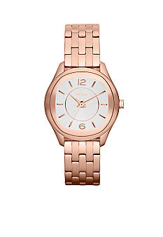 DKNY Ladies Rose Gold-Tone Stainless Steel Three-Hand Watch