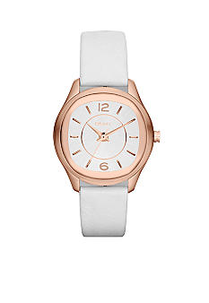 DKNY Ladies Rose Gold-Tone Stainless Steel and White Leather Three-Hand Watch