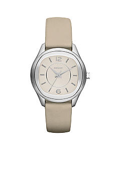 DKNY Ladies Silver-Tone Stainless Steel and Nude Leather Three-Hand Watch