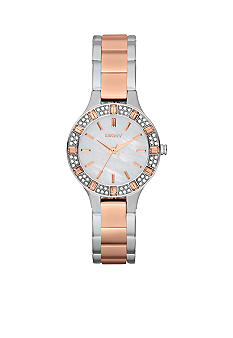 DKNY Ladies Silver Tone and Rose Gold Stainless Steel Three-Hand Glitz Watch