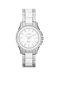 DKNY Ladies Silver Tone Stainless Steel and White Ceramic Three-Hand Glitz Watch