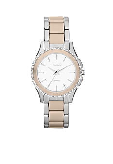 DKNY Ladies Silver-Tone Stainless Steel and White Ceramic Three-Hand Glitz Watch