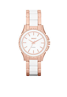 DKNY Ladies Rose Gold-Tone Stainless Steel and White Ceramic Three-Hand Glitz Watch