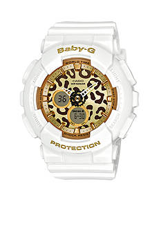 Women's White Leopard Print Ana-Digi Baby-G Watch
