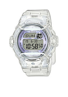 Women's Clear Jelly Baby-G With Light Purple Metallic Face Watch
