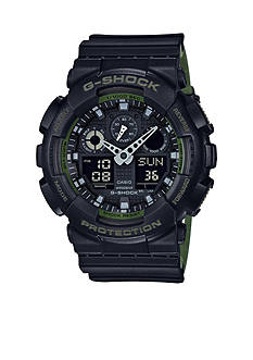G-Shock Men's Black and White Accent Dual Layered Band Watch