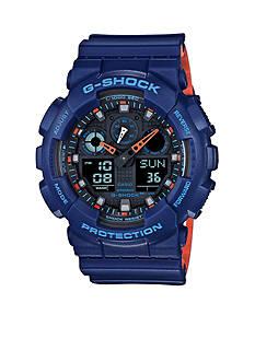 Men's Blue G-Shock with Orange Accent Watch