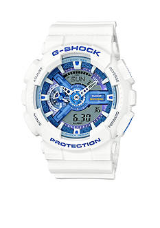 Men's White with Blue Face G-Shock Watch
