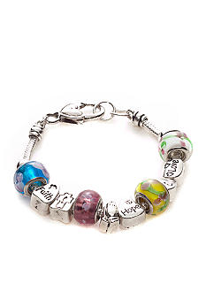 Kim Rogers Boxed Multi Colored Stone and Silver Inspirational Scripted Charmable Bracelet