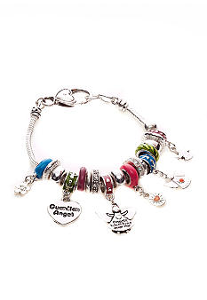 Kim Rogers Multi Colored Charmable Bracelet with Angels, Hearts, Flower Charm Drop Off Box Bracelet