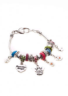 Kim Rogers Multi Colored Charmable Bracelet with Angels, Hearts, Flower Charm Drop Off Boxed Bracelet