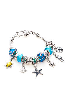 Kim Rogers Boxed Silver, Blue and Green Charmable Bracelet with Sea Life Motif Charms