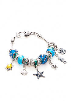 Kim Rogers Boxed Silver-Tone, Blue and Green Charmable Bracelet with Sea Life Motif Charms
