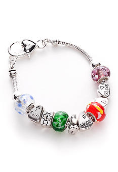 Kim Rogers Inspirational Multi Glass Bead Charm Slider Bracelet