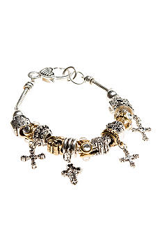 Kim Rogers Two Tone Cross Charm Slider Bracelet