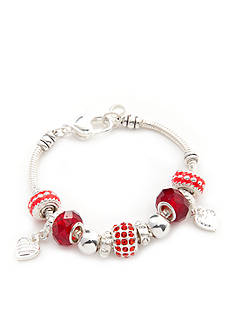 Kim Rogers Red Pave Heart Charm Boxed Bracelet