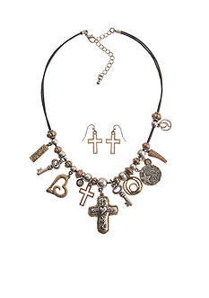 Kim Rogers Two-Tone Multi Inspirational Heart and Cross Charm Necklace and Earring Set