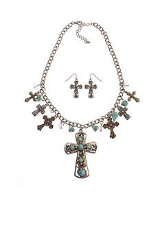 Kim Rogers Tri-Tone Turquoise Cross and Heart Charm Necklace and Pierced Earring Set