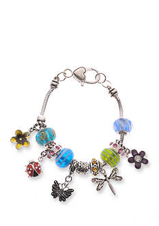 Kim Rogers Silver-Tone Butterfly Charm Boxed Bracelet