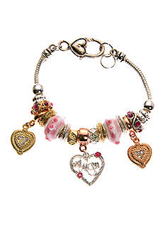Kim Rogers Tri-Tone Pink Glass and Heart Charm Boxed Bracelet