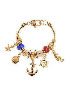 Kim Rogers Red, White and Blue Gold Anchor Nautical Charm Boxed Bracelet