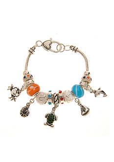 Kim Rogers Orange, Blue and White Sealife Motif Charm Boxed Bracelet