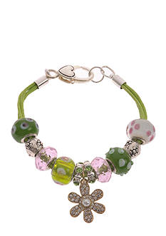 Kim Rogers Silver-Tone Green Flower Charm Boxed Bracelet