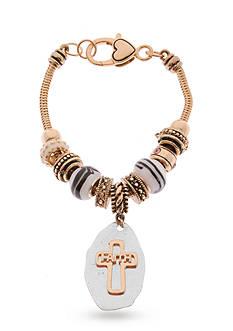 Kim Rogers Rose Gold-Tone Faith Charm Boxed Bracelet