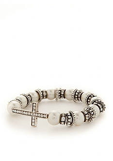 Kim Rogers Silver-Tone and White Pearl Pave Cross Stretch Bracelet