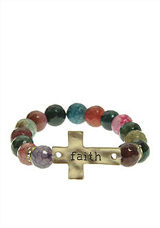 Kim Rogers Fall Multi-Colored Genuine Fire Agate With 'Faith' Sideways Cross Icon Stretch Bracelet