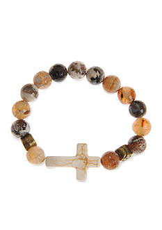 Kim Rogers Natural Brown Agate Stone and Sideways Cross Strech Boxed Bracelet