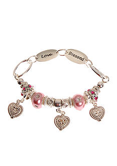 Kim Rogers Pink Pearl Glass Charm Bead Stretch Bracelet with Blessed and Love