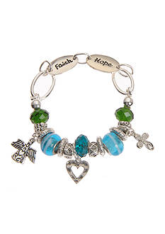 Kim Rogers Turquoise and Green Glass Beads Charm Boxed Bracelet
