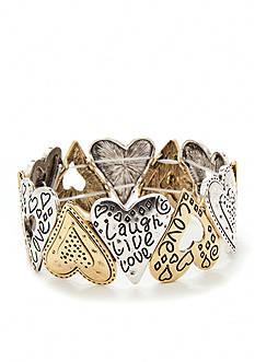 Kim Rogers Two-Tone Heart Inspirational Stretch Bracelet