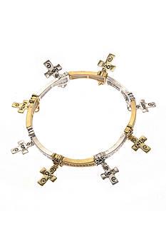 Kim Rogers Two-Tone Cross Charm Stretch Bracelet