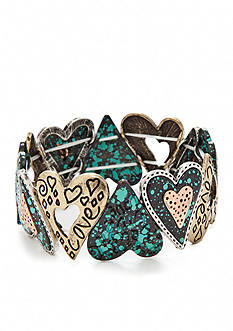 Kim Rogers Multi-Tone Heart Stretch Bracelet