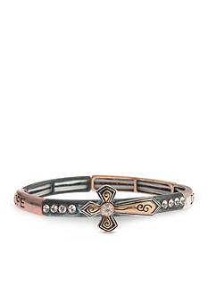 Kim Rogers Tri-Tone Inspirational Sideways Cross Bracelet