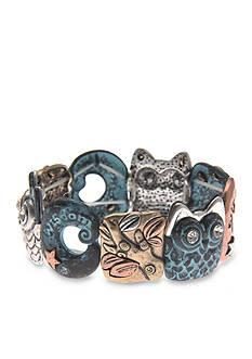 Kim Rogers Tri-Tone Patina Wisdom Owl Stretch Bracelet